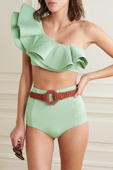 Johanna Ortiz Watercolor bikini top ($450) and Captivation bottom with belt ($240); all bergdorfgoodman.com