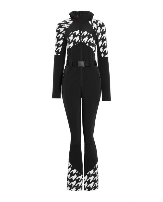 Perfect Moment Women's Tignes Ski Suit in Black Houndstooth; $800, perfectmoment.com.