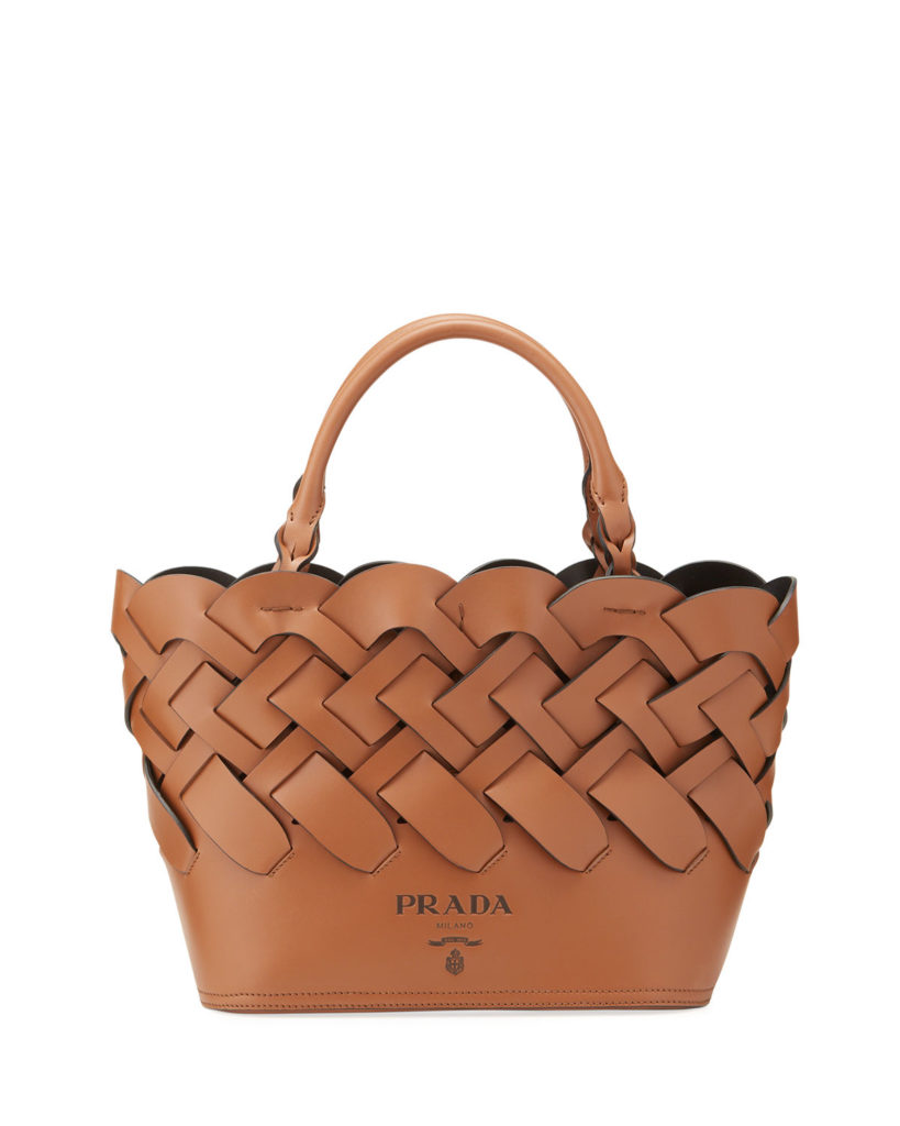 Prada Woven Vitello Bag; $2,200, neimanmarcus.com