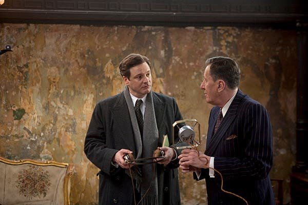 Colin Firth as King George VI with his speech therapist, Dr. Lionel Logue (Geoffrey Rush) in the critically-acclaimed British drama.