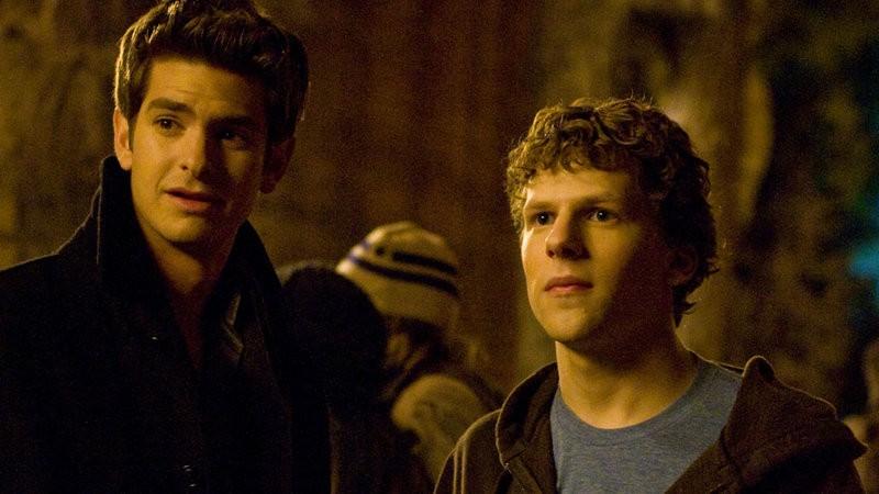 Eduardo Saverin (Andrew Garfield), and Mark Zuckerberg (Jesse Eisenberg) in the Facebook film.