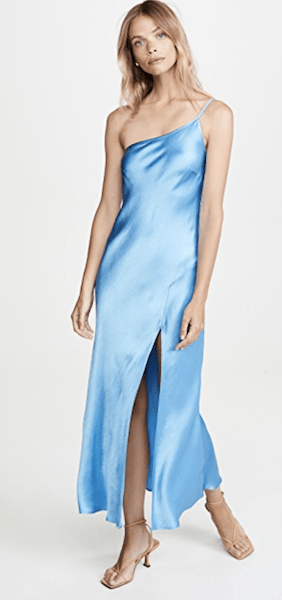 Blue Asymmetrical Midi Dress