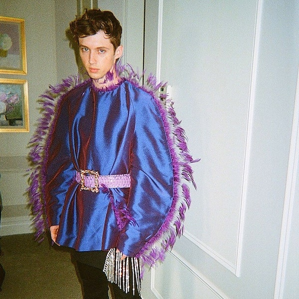 Troye Sivan sticks to analogous colors in this stunning Palomo Spain shirt for his Bloom tour.