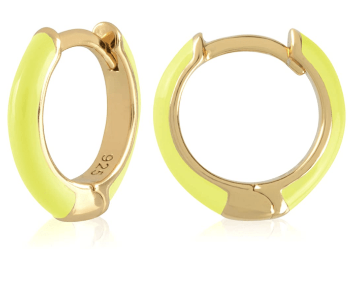 AMAZON 18K Gold Plated Sterling Silver Enamel Color Huggie Hoop Earrings ($25.97)
