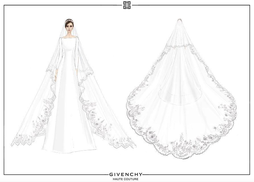 The designer's official sketches of Meghan Markle's wedding dress.