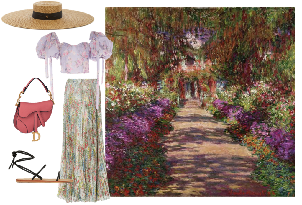 Monet's painting of his gardens at Giverny get a modern update with this easy-going spring look. Loveshackfancy top, Giambattista Valli skirt, Christian Dior saddle bag, St. Agni sandals, and an Eric Javits hat.