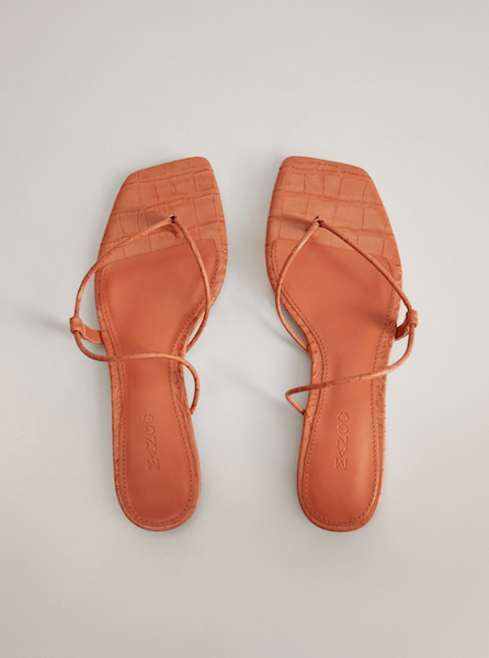 MANGO Orange Flat Croc Sandal ($27)