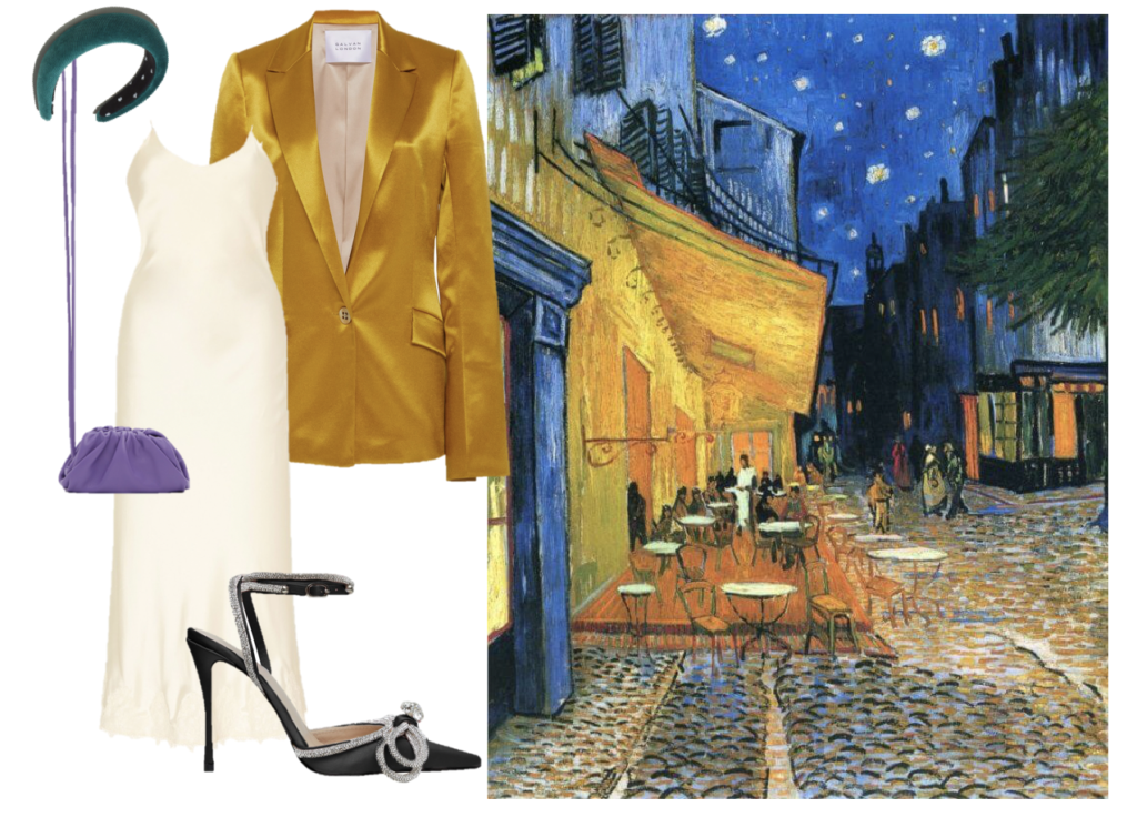 For when we can finally go out again, this take on Van Gogh's Café Terrace at Night is exquisitely sophisticated. (Galvan silk blazer, Markarian lace-trimmed slip dress, Mach and Mach pumps, Lele Sadoughi padded headband, and Bottega Veneta mini Pouch).