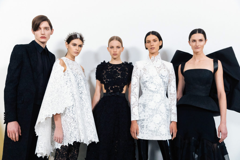 Backstage at Keller's Spring/Summer 2019 haute couture show.