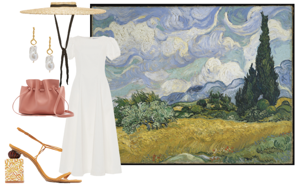 Van Gogh's Cypress Wheatfields makes us pine for the South of France, but since we can't visit, this carefree look will do. (Luisa Beccaria dress, Jacquemus sandals and hat, Mansur Gavriel bag, and Alghieri pearl drop earrings).