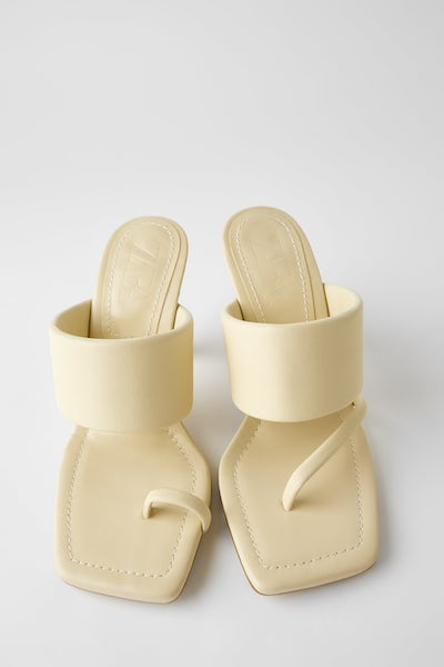 Heeled Leather Sandals with Padded Strap