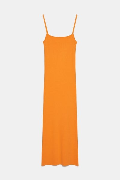 Zara Orange Ribbed Dress