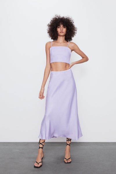 Zara purple satin set