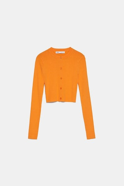 Zara Orange Cropped Sweater