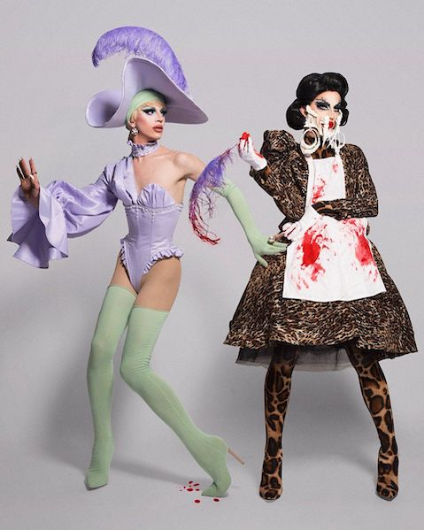 """Season 10&squot;s Aquaria serves two looks for the """"Evil Twin""""-themed runway."""