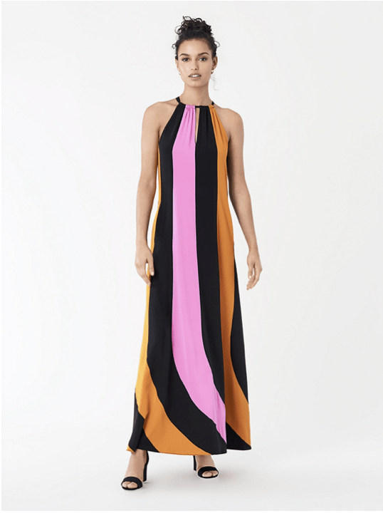 DVF graphic color-blocked maxi dress