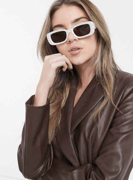 ASOS DESIGN square beveled sunglasses in pearl white - $19