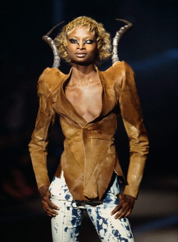 """A model walks in the designer&squot;s Fall/Winter 1997 show, """"It&squot;s a Jungle Out There."""""""