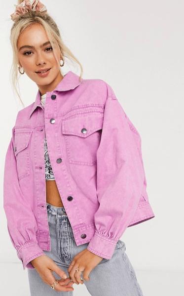 ASOS DESIGN oversized acid washed jacket in Pink from ASOS ($64)