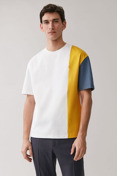 COTTON PANELLED T-SHIRT from in White/Orange/Blue COS ($59)