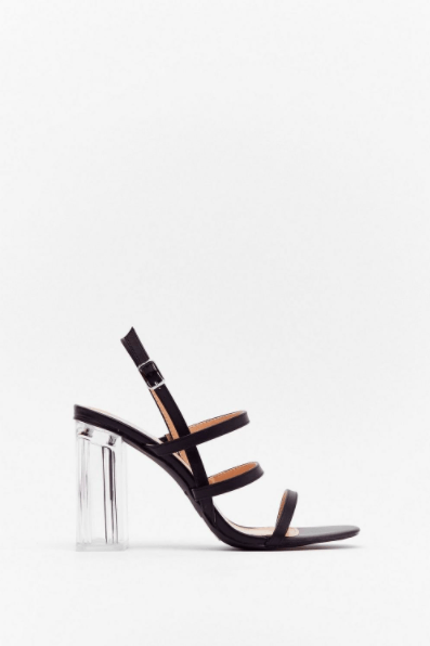 Lucite Dreaming Strappy Clear Heels from Nasty Gal ($67)