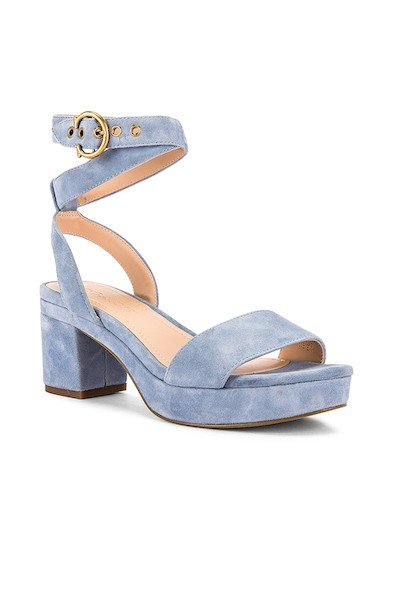 Coach 1941 Serena Suede Sandal in Bluebell from Revolve ($150)
