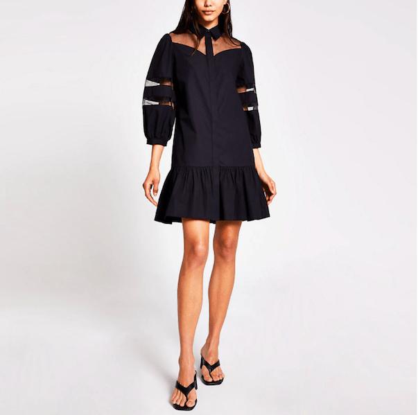 Black long sleeve organza smock dress from River Island ($92)