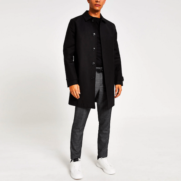 Concealed button water resistant mac in Black from River Island ($150)