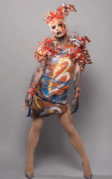 Scarlett Bobo makes trash into couture for the Single-Use Queens runway.