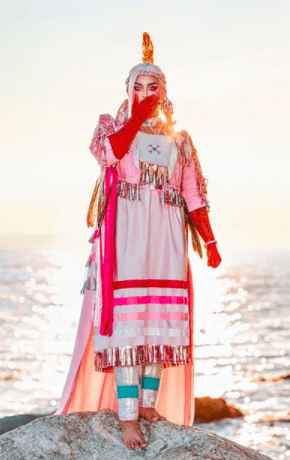 Ilona Verley pays homage to her indigenous First Nations (Nlaka'pamux) identity in her finale look. She is the first indigenous and Two-Spirit queen in Drag Race herstory.