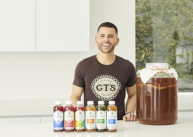 GT Dave, founder of GT's Living Foods and the Mastermind behind GT's kombucha, at home in his Los Angeles home with his kombucha.