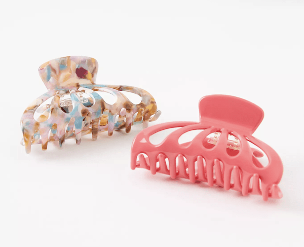 Multicolored and pink claw clips from Anthropologie