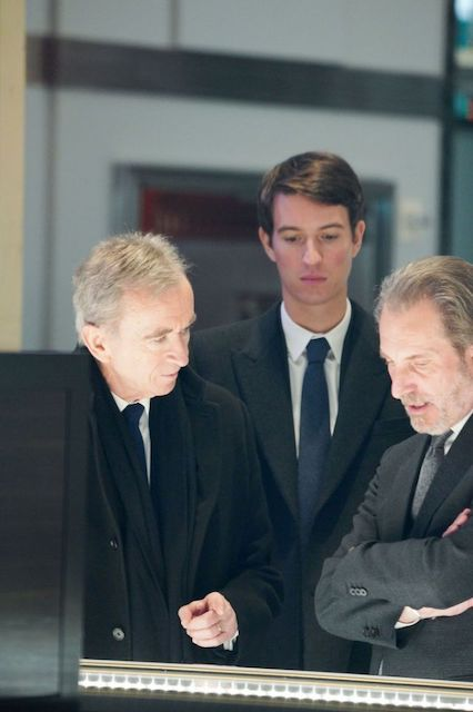 LVMH Chairman Bernard Arnault, his son and Rimowa CEO Alexandre Arnault, and Tiffany CEO Alessandro Bogliolo at Tiffany's 5th Avenue flagship in New York.