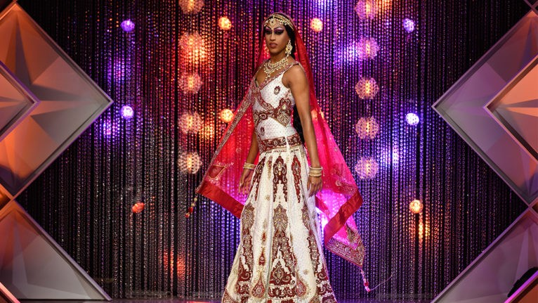 Priyanka stuns in a red and white lehenga on the final runway of the season.
