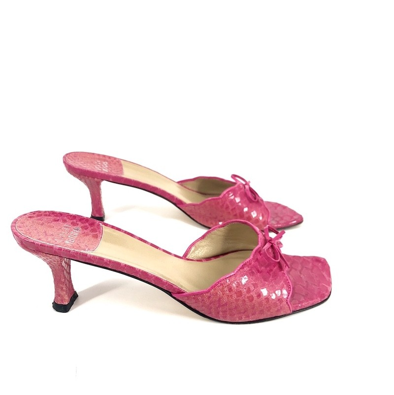 Hot Pink Colored Snakeskin Leather Kitten Heels - $98