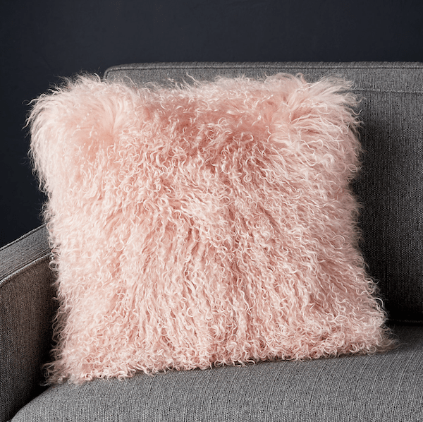 Mongolian sheepskin pillow from Crate & Barrel
