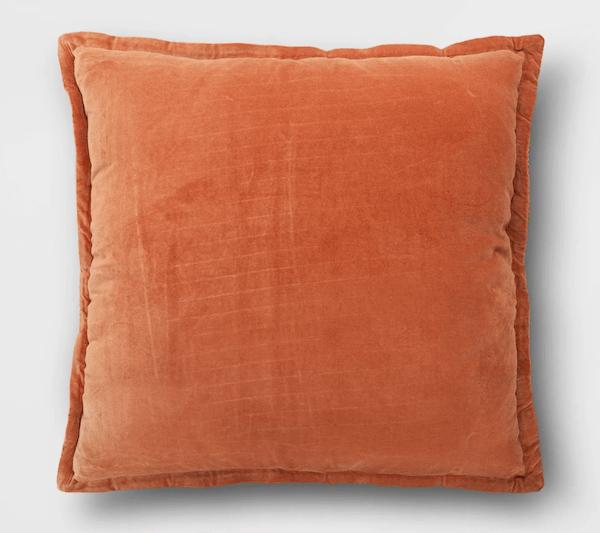 Autumn orange velvet pillow from Target