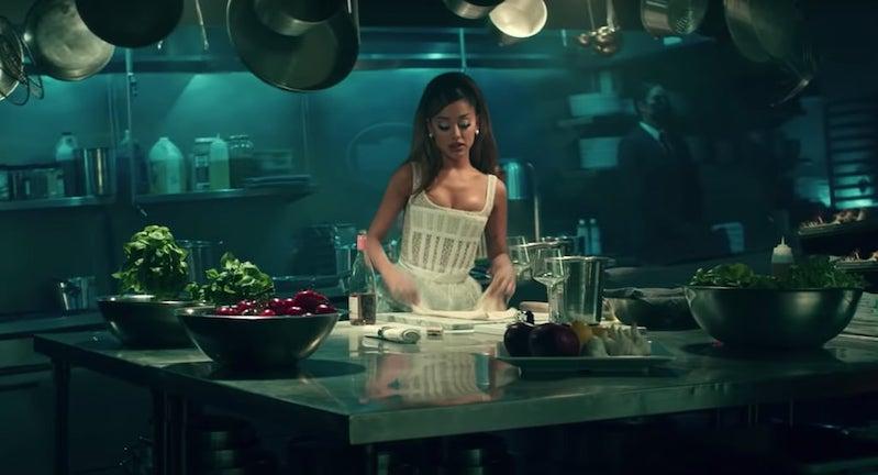 Grande is making pasta(?).