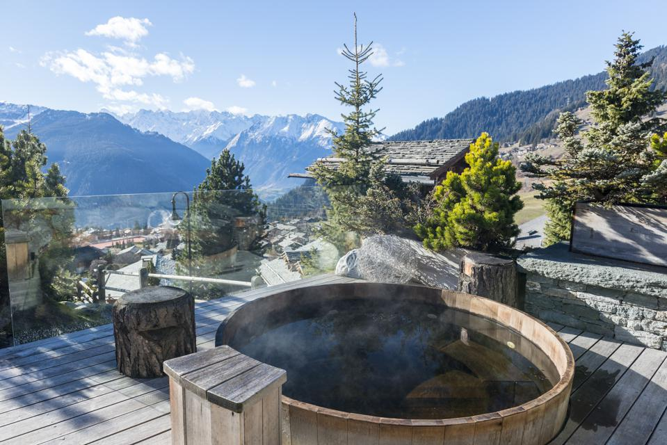 Spectacular views surround this overlook at Clinique La Prairie, Clarens, Switzerland.