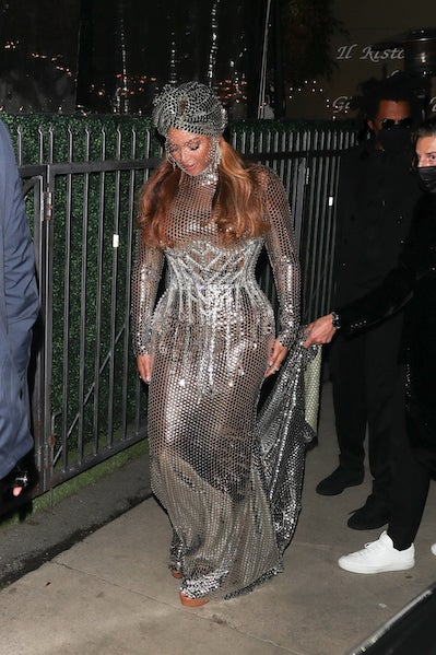 Beyoncé steps out in Burberry after the show.