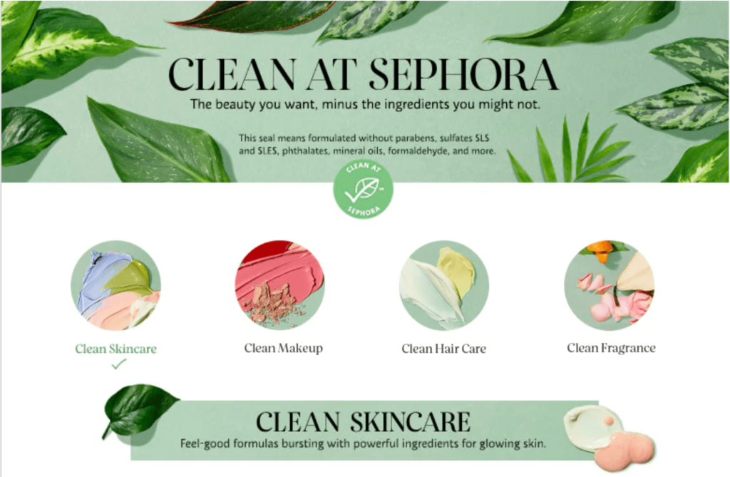 The requirements for clean at Sephora, defined in this graphic, are about to get an upgrade with the launch of Sephora Blue.