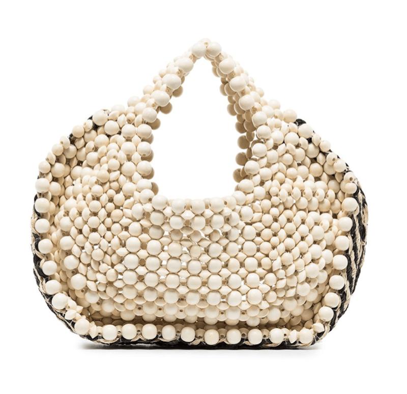 Aranaz woven-detail beaded tote bag -$195