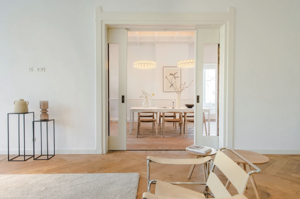 A view to the equally beautiful and airy dining room.