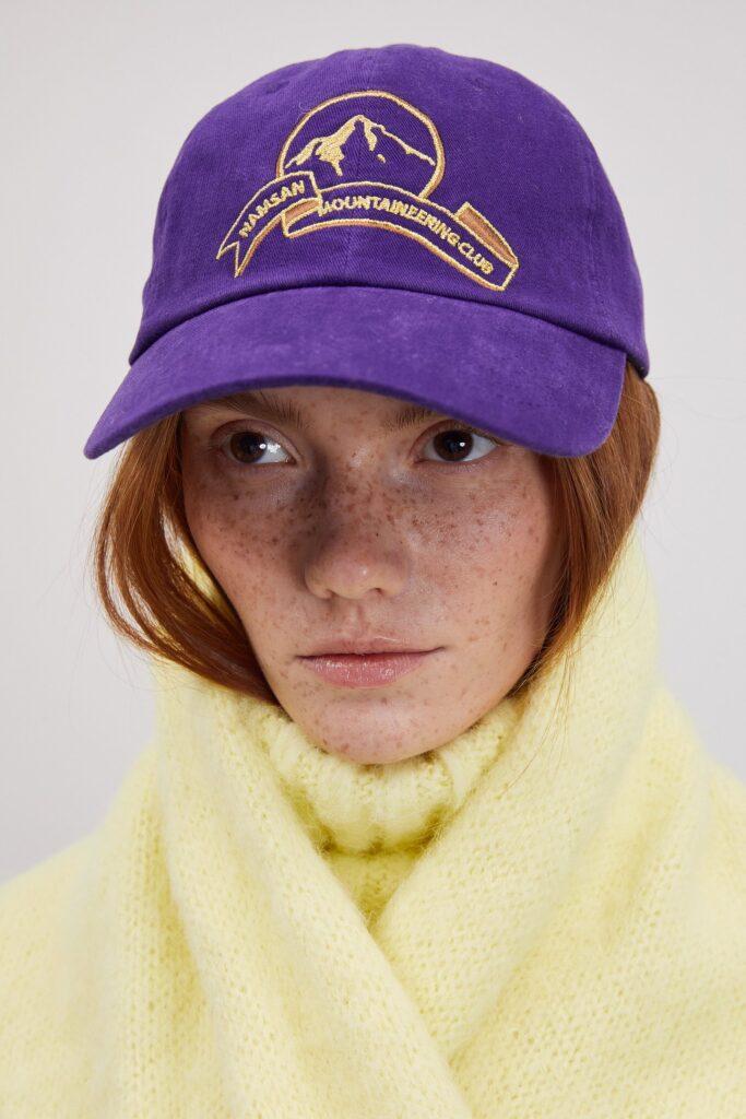 Embroidered Corduroy Cap, Purple ($58)