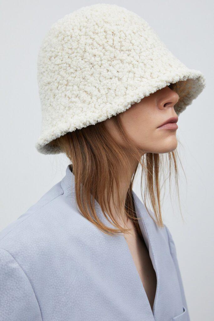 Teddy Shearling Bucket Hat, Cream ($48)