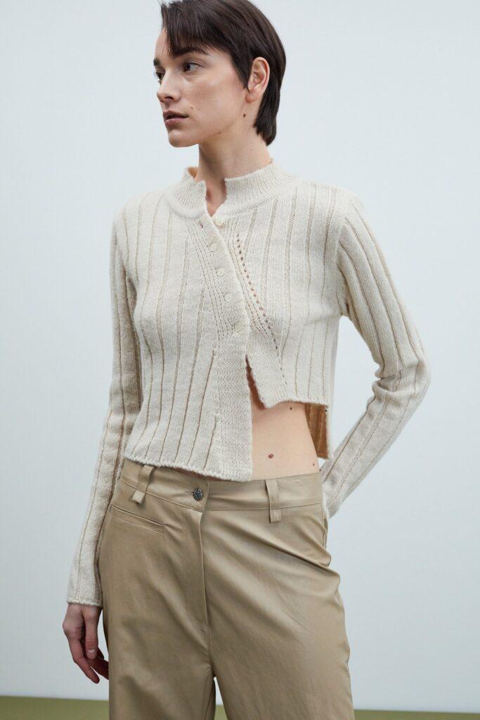 Asymmetric Cut Ribbed Knit, Wheat ($70)