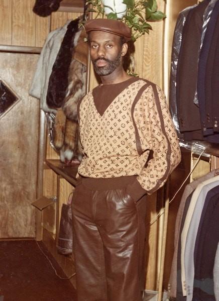 Dan in his boutique, Dapper Dan's Boutique, in New York City before its closure in 1992.