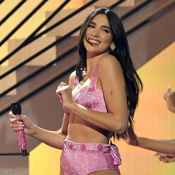 """Dua Lipa performs """"Levitating"""" and """"Don&squot;t Start Now"""" in Versace."""