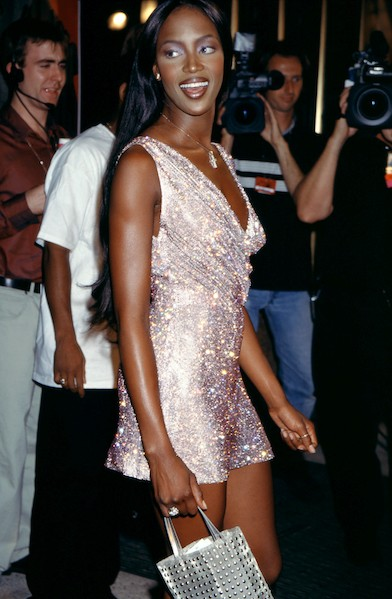 Campbell stuns in this Versace dress at the 1997 MTV Music Video Awards.
