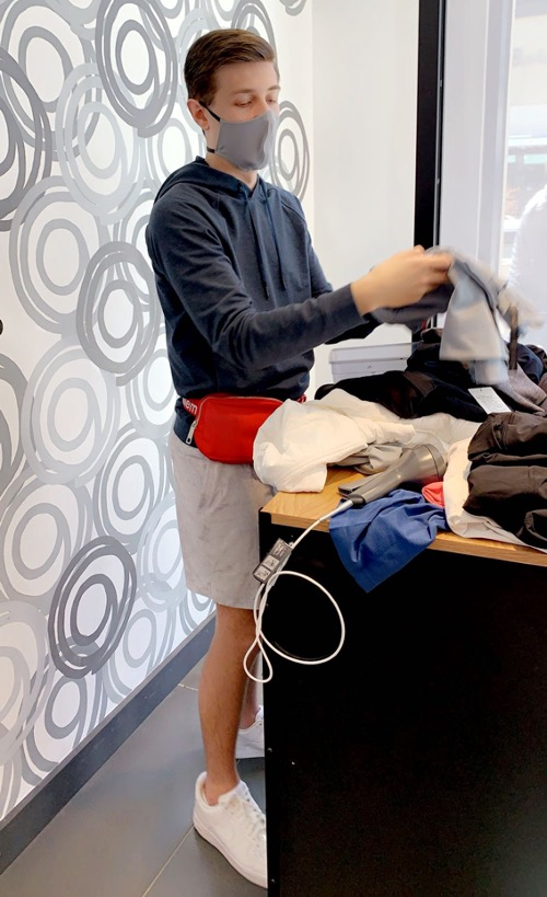 """""""Me working at the lululemon at Legacy West (peep the red belt bag!)"""""""